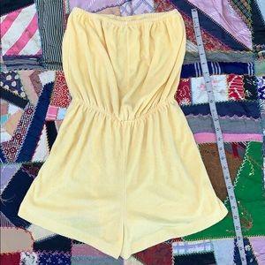 Vintage 70s/80s Lemon Yellow Terrycloth Romper